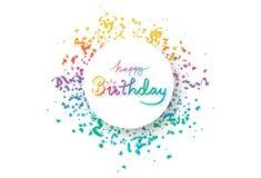 Gelukkige verjaardag, het kader van de cirkelbanner met veelkleurige confettien, decoratiedocument en lintenexplosie, kalligrafie royalty-vrije illustratie