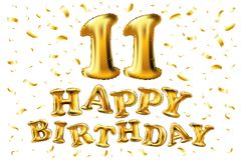 Gelukkige verjaardag 11 jaar van de verjaardagsvreugde de vierings 3d Illustratie met briljante gouden ballons & verrukkingsconfe Stock Fotografie