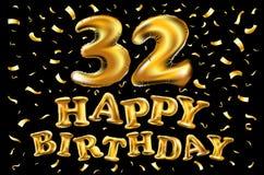 Gelukkige verjaardag 32 jaar van de verjaardagsvreugde de vierings 3d Illustratie met briljante gouden ballons & verrukkingsconfe Stock Foto