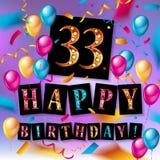 Gelukkige verjaardag 33 jaar verjaardags Stock Fotografie