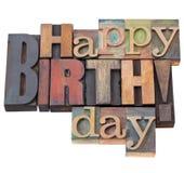 Gelukkige Verjaardag in letterzetseltype Royalty-vrije Stock Afbeeldingen