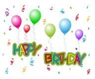 Gelukkige Verjaardag met ballons Stock Afbeelding