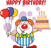 Gelukkige Verjaardag met de Ballons en de Cake van Clowncartoon character with met Kaarsen Royalty-vrije Stock Fotografie
