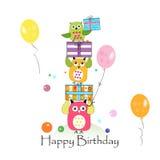 Gelukkige verjaardag met uilen en giftdoos Van de de groetkaart van de babyverjaardag de vectorillustratie Royalty-vrije Stock Foto's