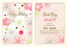 Gelukkige verjaardag op bloemenachtergrond in kleurrijk thema royalty-vrije illustratie