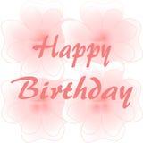 Gelukkige Verjaardag op grote roze bloemen Royalty-vrije Stock Fotografie