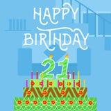 Gelukkige Verjaardag 21 oude groene de Cakeprentbriefkaar van Th - hand het van letters voorzien - met de hand gemaakte kalligraf Royalty-vrije Stock Foto's