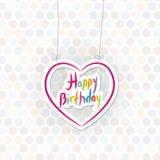 Gelukkige Verjaardag roze hart op Stipachtergrond Vector Royalty-vrije Stock Afbeelding