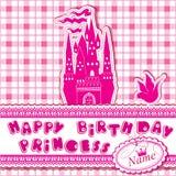 Gelukkige verjaardag - Uitnodigingskaart voor meisje Stock Afbeelding
