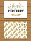 Gelukkige Verjaardag Van letters voorziende groetkaart en zijn achterkant met een abstract ontwerp Stock Foto