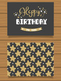 Gelukkige Verjaardag Van letters voorziende groetkaart en zijn achterkant met een abstract ontwerp Stock Foto's