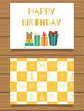 Gelukkige Verjaardag Van letters voorziende groetkaart en zijn achterkant met een abstract ontwerp Stock Fotografie
