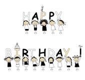 Gelukkige verjaardag van mooie glimlachende meisjes vector illustratie