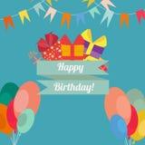 Gelukkige verjaardag in vlakke stijl Stock Afbeeldingen