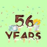 Gelukkige Verjaardag zesenvijftig 56 jaar Stock Fotografie