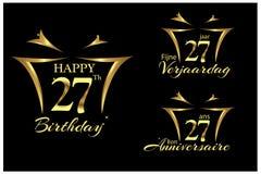 Gelukkige Verjaardag zevenentwintig jaar in het Engels, het Nederlands en het Frans Elegant ontwerp met aantal royalty-vrije illustratie