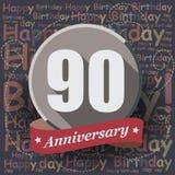 90 gelukkige Verjaardagsachtergrond of kaart Royalty-vrije Stock Foto's