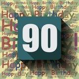 90 gelukkige Verjaardagsachtergrond of kaart Stock Afbeeldingen