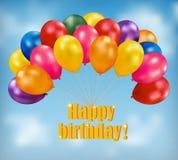 Gelukkige verjaardagsachtergrond met ballons Stock Foto