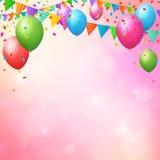 Gelukkige verjaardagsachtergrond met ballons en vlaggen Stock Afbeelding