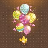 Gelukkige Verjaardagsachtergrond met vogel en ballon royalty-vrije illustratie