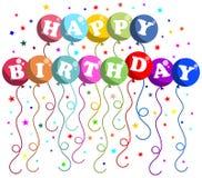 Gelukkige Verjaardagsballons Royalty-vrije Stock Afbeelding