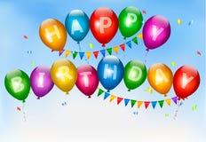 Gelukkige verjaardagsballons. Vakantieachtergrond. Stock Afbeelding