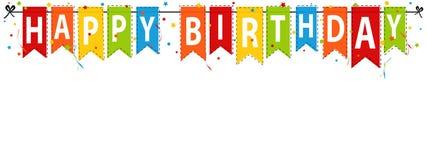 Gelukkige Verjaardagsbanner, Achtergrond - de Vectorillustratie van Editable Stock Afbeeldingen