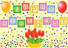 Gelukkige Verjaardagsbrieven op kleurrijke vierkanten Royalty-vrije Stock Foto