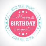 Gelukkige verjaardagskaart Editable voor partij van de uitnodigings de gelukkige verjaardag Stock Afbeelding