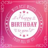 Gelukkige verjaardagskaart Editable voor partij van de uitnodigings de gelukkige verjaardag Stock Foto's