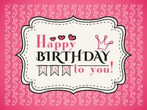 Gelukkige verjaardagskaart Editable voor partij van de uitnodigings de gelukkige verjaardag Stock Foto