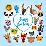 Gelukkige verjaardagskaart grappig leuk dierlijk gezicht Royalty-vrije Stock Foto