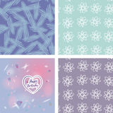 Gelukkige verjaardagskaart, hart, roze en purple en Royalty-vrije Stock Foto's