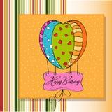 Gelukkige verjaardagskaart met ballons Royalty-vrije Stock Afbeelding