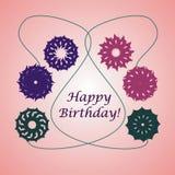 Gelukkige verjaardagskaart met bloemen Stock Afbeeldingen