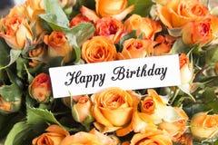 Gelukkige Verjaardagskaart met Boeket van Oranje Rozen Royalty-vrije Stock Afbeeldingen