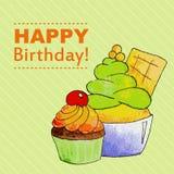 Gelukkige verjaardagskaart met cupcake en roomijs Stock Foto