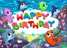 Gelukkige Verjaardagskaart met het mariene leven stock illustratie