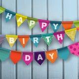 Gelukkige Verjaardagskaart met kleurrijke document slingers Royalty-vrije Stock Afbeeldingen