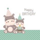 Gelukkige verjaardagskaart met leuk nijlpaardbeeldverhaal vector illustratie