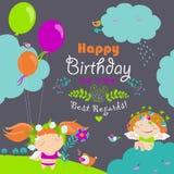 Gelukkige verjaardagskaart met leuke engelen royalty-vrije illustratie