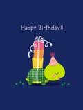 Gelukkige verjaardagskaart met leuke schildpad stock illustratie