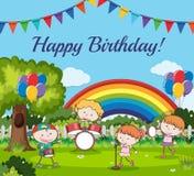 Gelukkige Verjaardagskaart met Musicus Band royalty-vrije illustratie