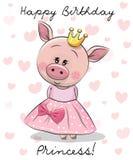 Gelukkige Verjaardagskaart met Prinses Pig royalty-vrije illustratie