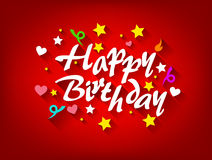 Gelukkige Verjaardagskaart met Ster, Hart en Lint Royalty-vrije Stock Fotografie