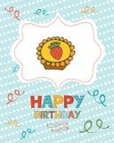 Gelukkige verjaardagskaart met zoet dessert Stock Afbeelding