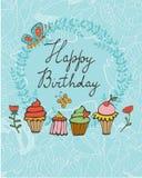 Gelukkige verjaardagskaart met zoet dessert Stock Foto's