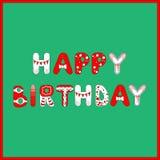 Gelukkige Verjaardagskaart in rode en witte kleuren op groene achtergrond voor uw ontwerp stock fotografie