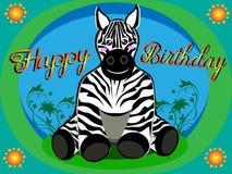 Gelukkige verjaardagskaart van zebra voor jonge geitjes op zuigelingswijze en in vector royalty-vrije illustratie